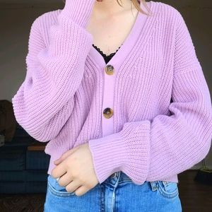 URBAN OUTFITTERS PASTEL PURPLE CARDIGAN